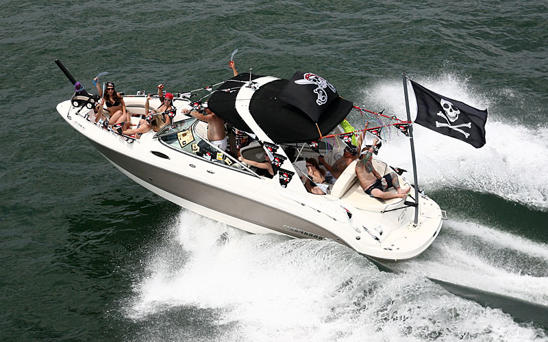 The group aboard this Chaparral Boats runabout flew their pirate flag with pride during the poker run.