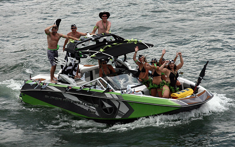 Embracing the pirate theme, the crew in the Super Air Nautique wakeboard boat had a great time at the poker run.