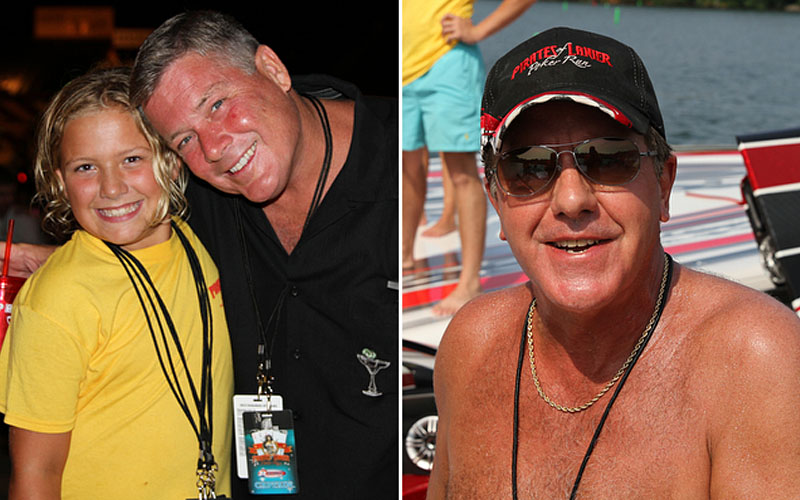John Woodruff, right, and his friend Kenny Armstrong, who owns the Phantom MTI catamaran, made sure the poker run charities received as much money as possible. Photos courtesy Florida Powerboat Club