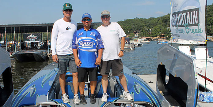 For Mike D'Anniballe (far right, shown here with John Tomlinson and Myrick Coil) the 195-mph run posted by a Skater catamaran with his engines was the highpoint of 2014.