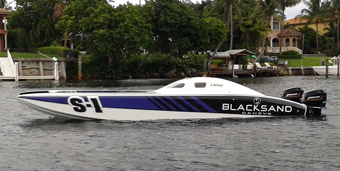 Gary Ballough will be racing his new 32-foot Doug Wright catamaran at the Super Boat International race in Sarasota, Fla., this weekend.