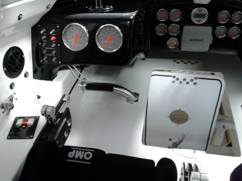 An inside look at the throttleman's position inside the 32-footer's cockpit.