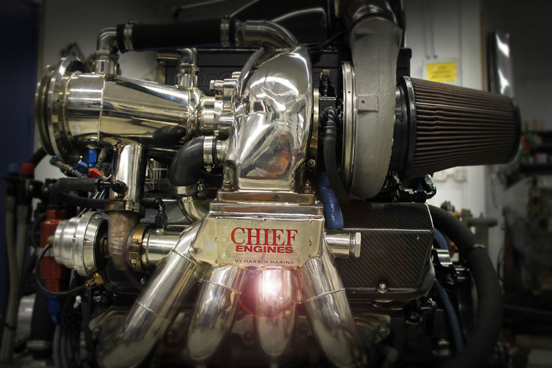 A side view of Chief Performance's new 1,900-hp turbocharged engine. Photo by John Lambert