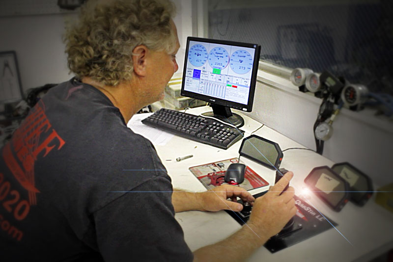 Chief Performance's Tommy Hofstetter mans the computer during dyno testing of the 1,900-hp engine. Photo by John Lambert