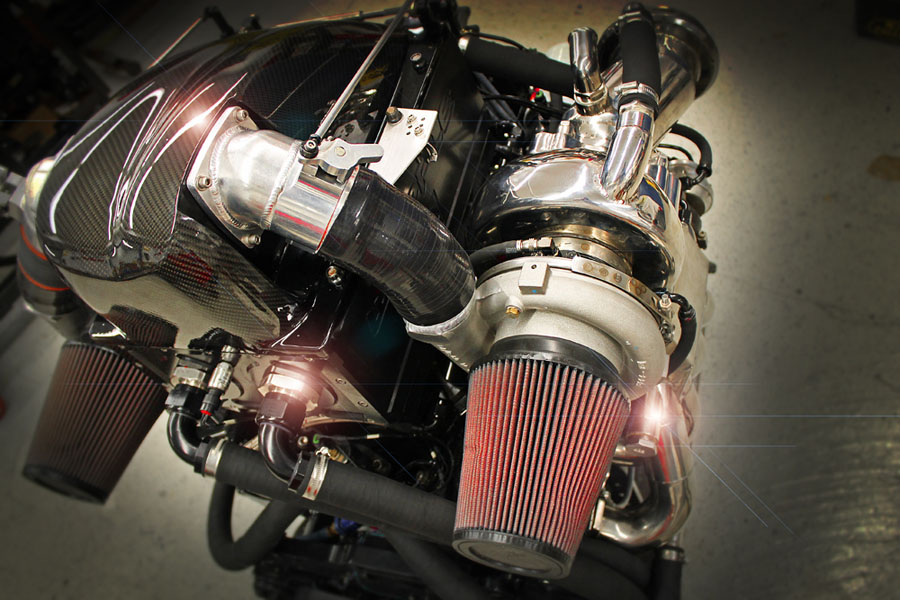 The new twin-turbo engine from Chief Performance pumps out 1,900 horsepower. Photo by John Lambert
