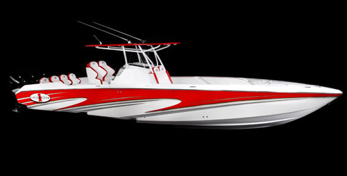 With triple 300-hp outboards, the Cigarette 39' Top Gun Open reportedly tops 75 mph.