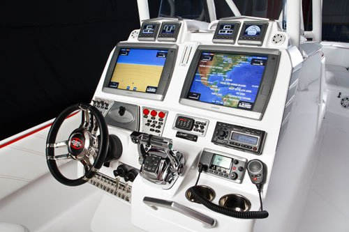 The model on display in Fort Lauderdale boasts twin 5200 Garmin GPS systems at the helm station.