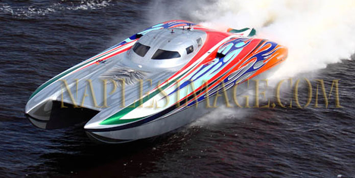 Dale Crighton plans to run twin 1,900-hp engines from Chief Performance in his 43-foot Doug Wright catamaran (shown at the 2010 Jacksonville River Rally Poker Run). Photo by Jay Nichols/Naples Images