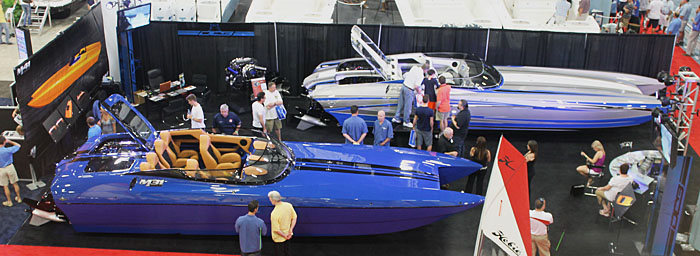 Dave's Custom Boats had its M31 (dark blue) and M35 Widebody catamarans on display in Miami.