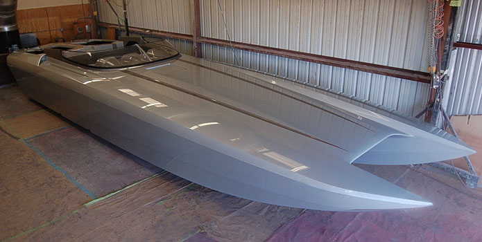 Dave's Custom Boats' all-new M41 Widebody is ready to be rigged with twin turbocharged Mercury Racing 1350 engines.