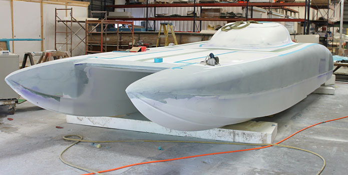 Doug Wright is expecting to finish Gary Ballough's new 32-foot race boat in time for a race in mid-May.
