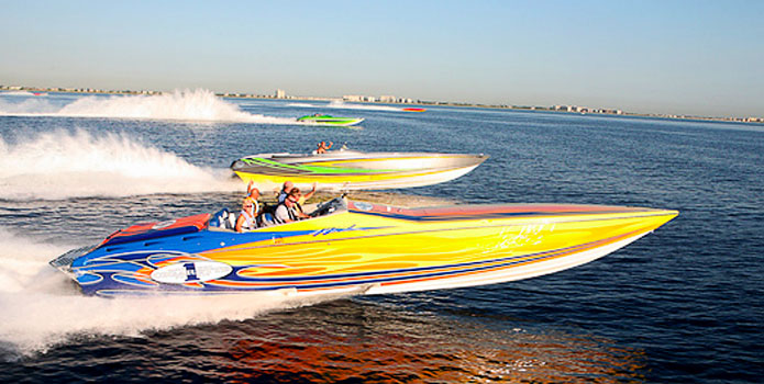 This year, 20 boats are set to make the trip to the Bimini Islands in the Bahamas Poker Run. Photo courtesy Florida Powerboat Club