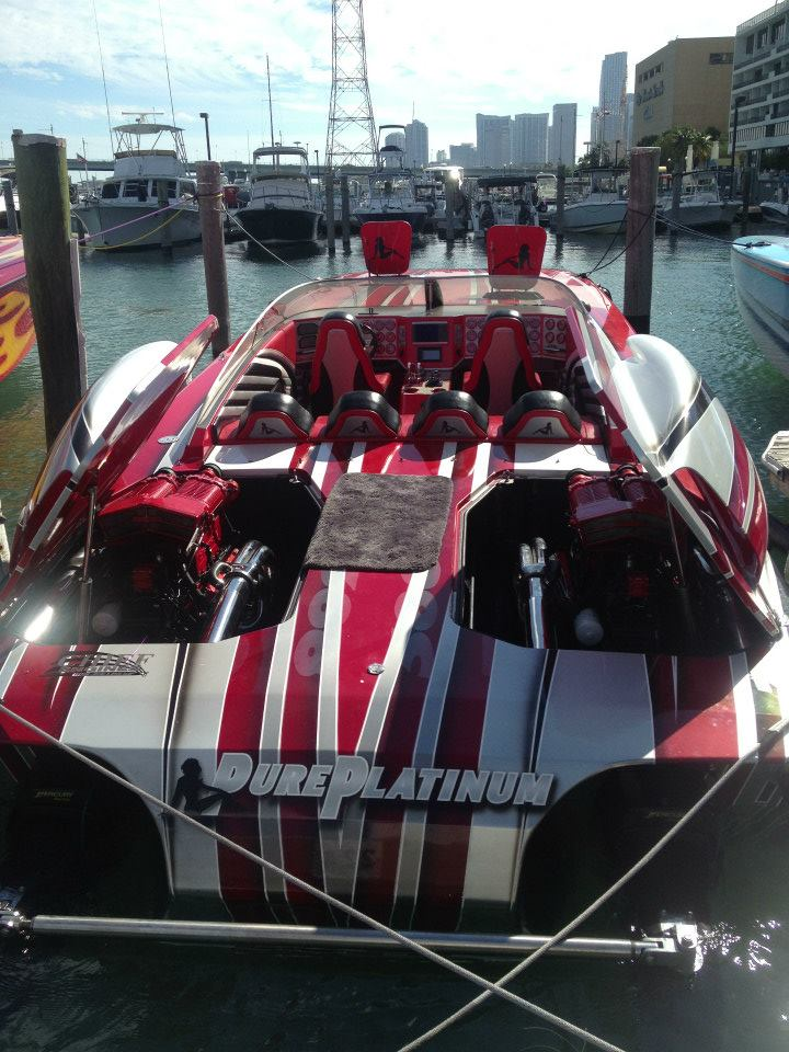 One of the fastest catamarans in the world, Bill Pyburn's 388 Skater received a new set of Chief Engines just before the Key West Poker Run. Photo courtesy Florida Powerboat Club