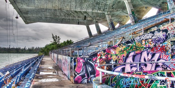 Since being shuttered by the city in 1992, Miami Marine Stadium has become a graffiti-covered monument.