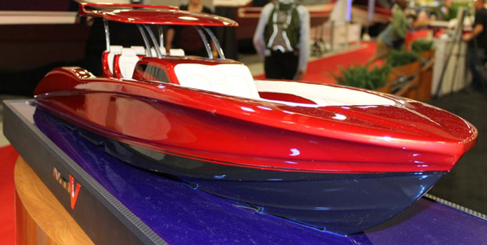 A model of the new SV42 center console from Marine Technology Inc. was on display at the Miami International Boat Show in February.