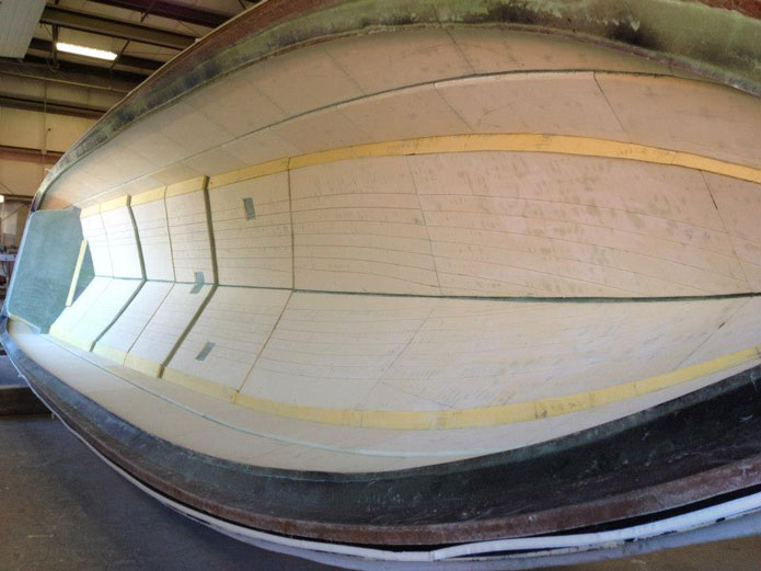 The hull for the second SV50 awaits its second layer.