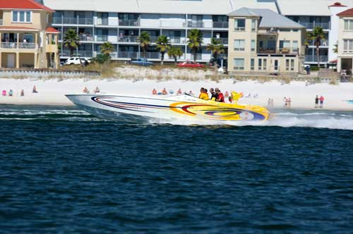 The Cleffi's 38-foot Cigarette Top Gun pace boat.