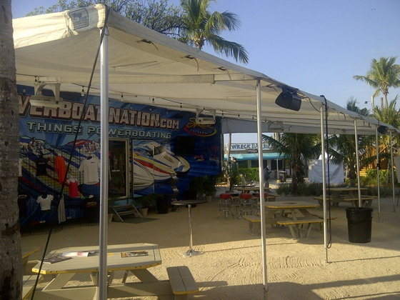 The Powerboatnation.com trailer captured in a quiet, early morning moment duirng the 2012 Miami Boat Show Poker Run.