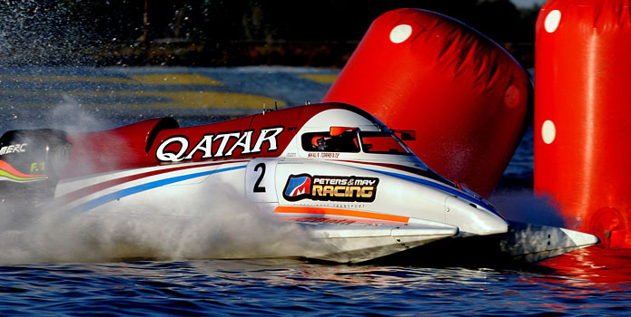 Despite holding the lead for most of the Grand Prix of Ukraine, Qatar Team driver Shaun Torrente lost the race after his engine failed with three laps to go. Photo courtesy Qatar Marine Sports Federation