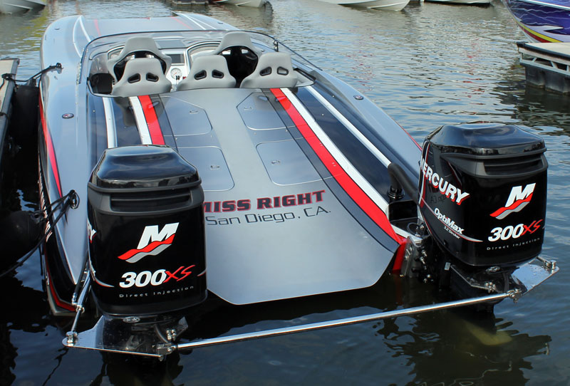 John Caparell ran his outboard-powered 32-foot Doug Wright Poker Run Edition catamaran to an impressive 113-mph top speed on Sunday.