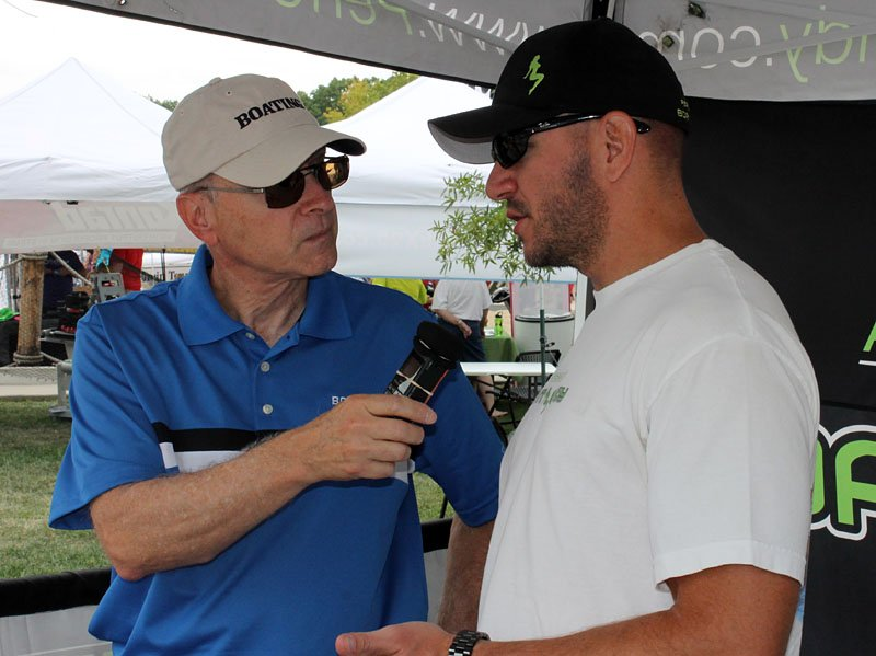 Bob May of Bob's No Wake Zone Radio Show interviews Performance Boat Candy owner Tim Weinzirl, one of the many Shootout exhibitors.