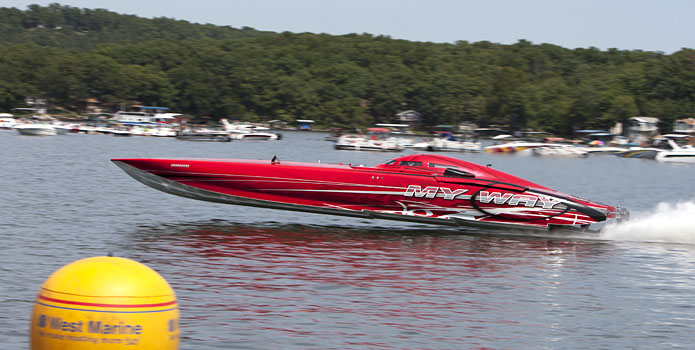 Owner Bill Tomlinson will defend his Lake of the Ozarks Shootout Top Gun title in his 50-foot Mystic catamaran My Way next month. Photo by Robert Brown