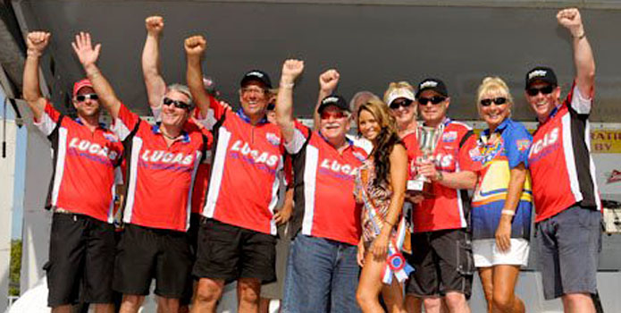 The Lucas Oil team celebrates its victory in Sarasota, Fla. Photo courtesy Chuck Carroll