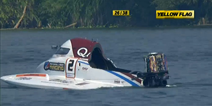 American driver Shaun Torrente of the Qatar Team was OK after crashing during a restart at the F1H2O Grand Prix of China.