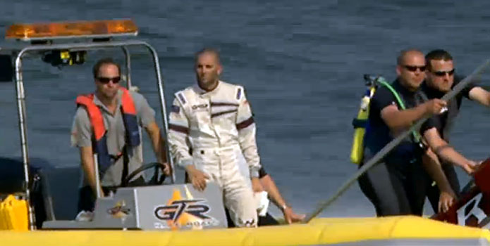 Shaun Torrente comes in on a rescue boat after he crashed with Finland driver Sam Selio.