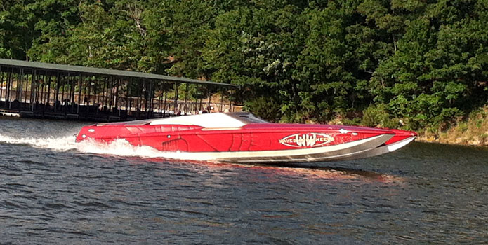 The Ironman-themed Hustler 377 Talon from Waves and Wheels took its maiden voyage last weekend on Lake of the Ozarks.